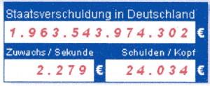 Schuldenstand Deutschland am 10. Juli 2011 um 17 Uhr. Recht unten Schuldenzuwachs pro Sekunde Links unten Schulden pro Büger