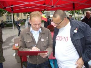Thomas Mitsch und Rainer Hauenschild bei der 1. Mai Kundgebung in Esslingen